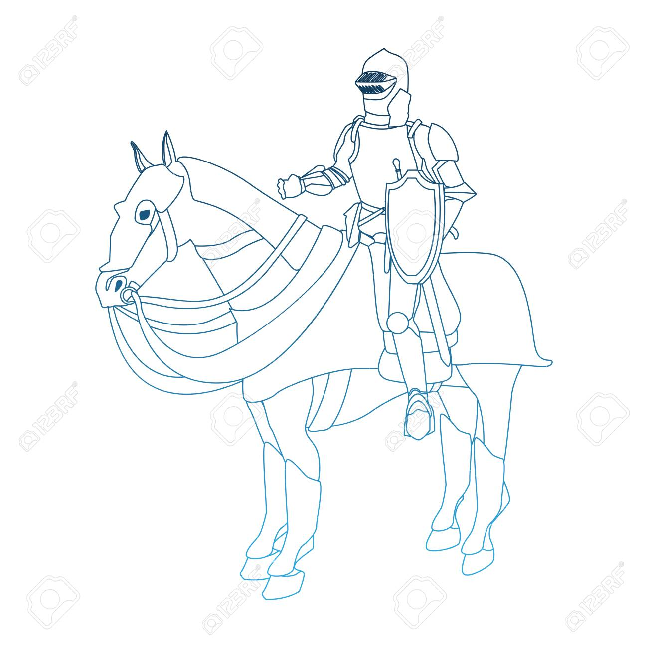 Medieval Warrior On Horse Vector Illustration Graphic Design Royalty Free Cliparts Vectors And Stock Illustration Image 97050539