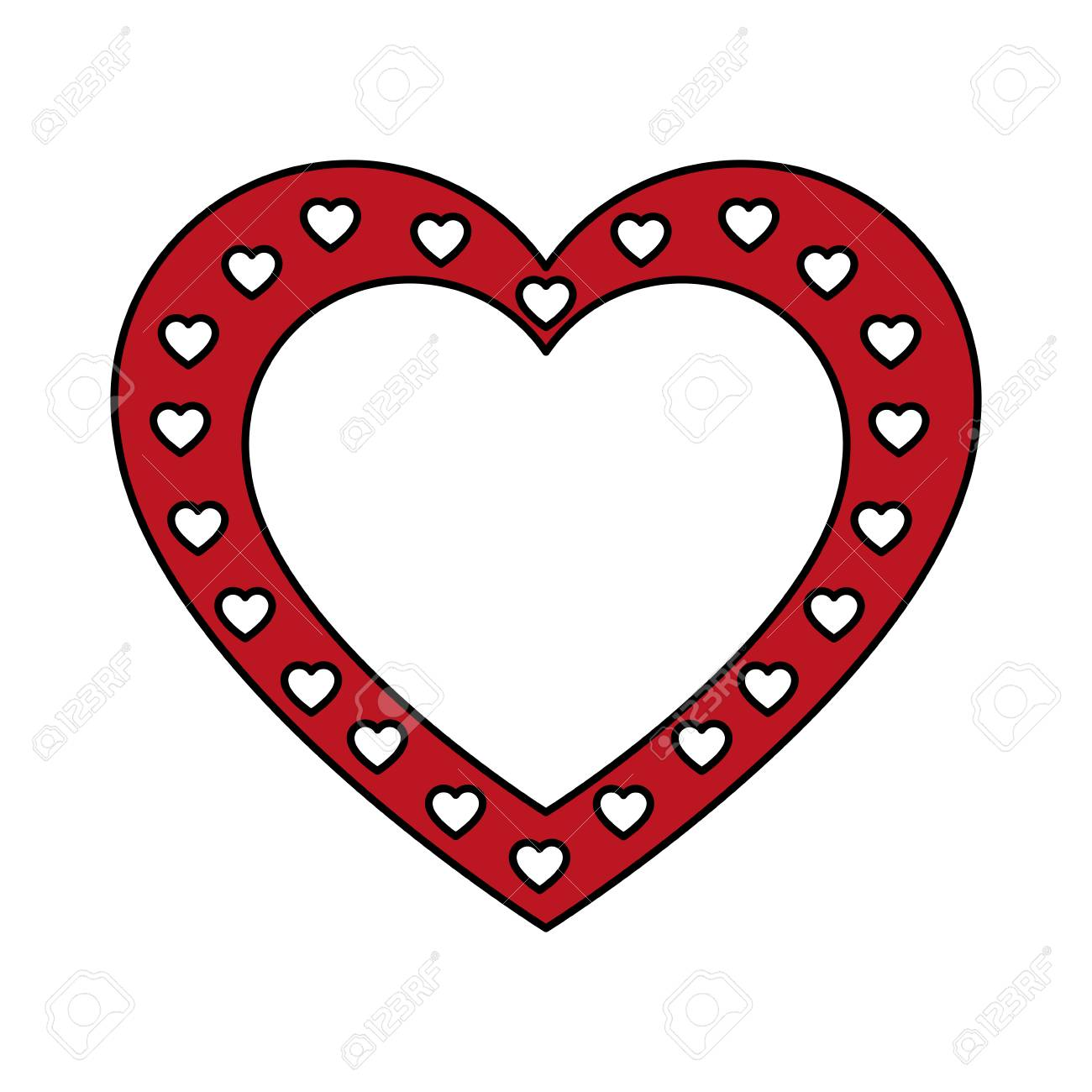 Red Heart Shaped Frame With Small White Hearts Royalty Free Cliparts ...