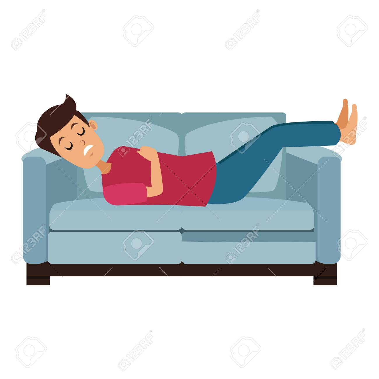 Man Sleeping In Sofa Vector Illustration Graphic Design Royalty Free
