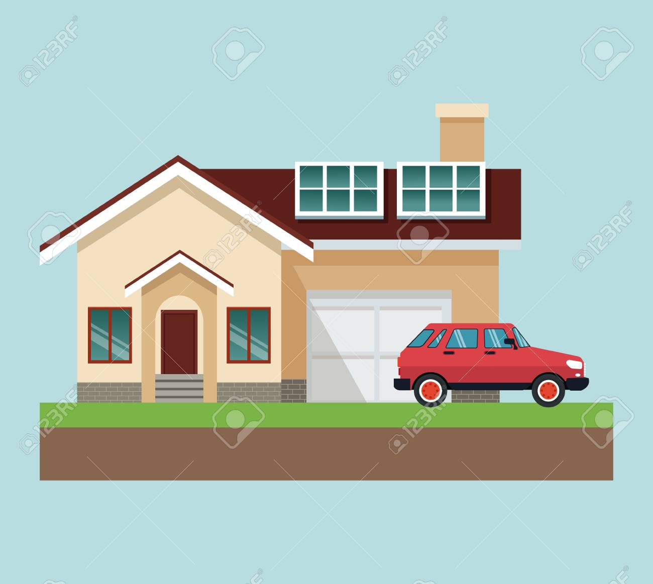 House With Car In Ground Vector Illustration Graphic Design Royalty Free Cliparts Vectors And Stock Illustration Image 102598062