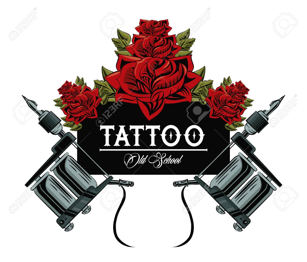 Old School Tattoo Machine Drawing Design Vector Illustration ...