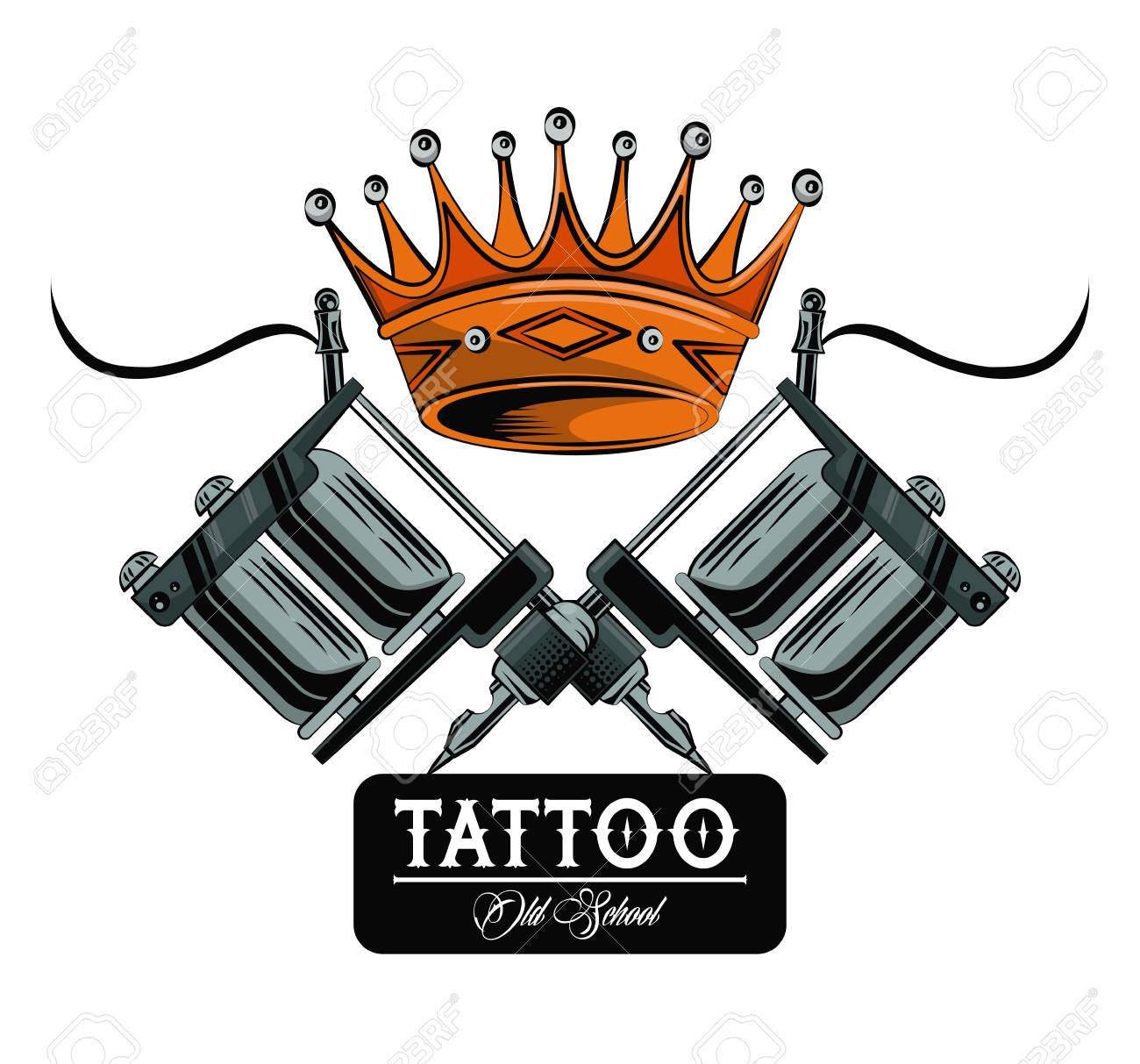 Old School Tattoo Machines And Crown Drawing Design Vector ...