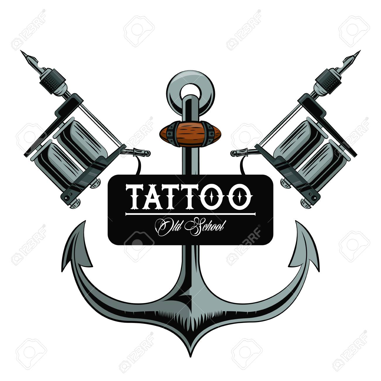 Old School Tattoo Marine Anchor Drawing Design Vector Illustration