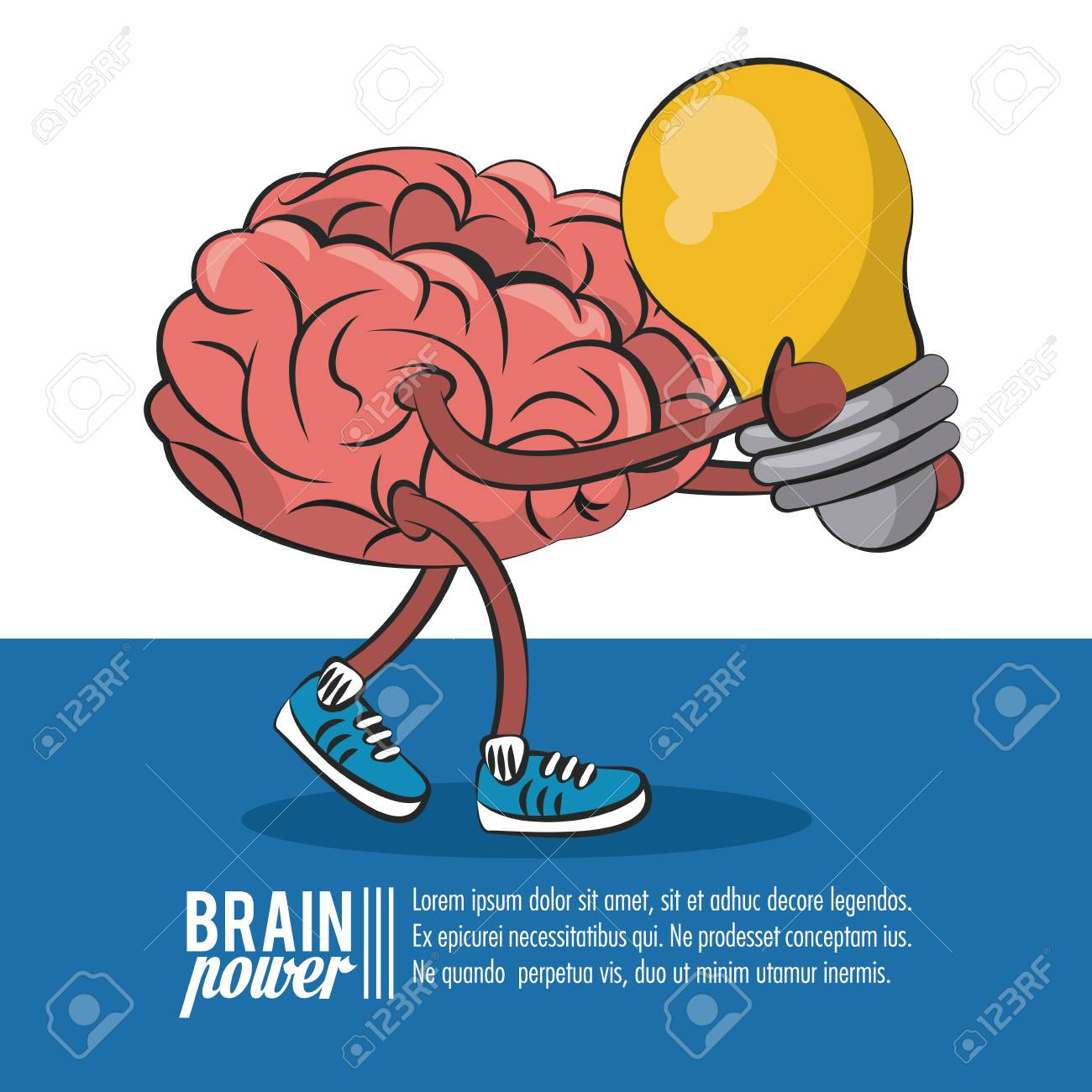 Brain Power Poster Template With Information Vector Illustration