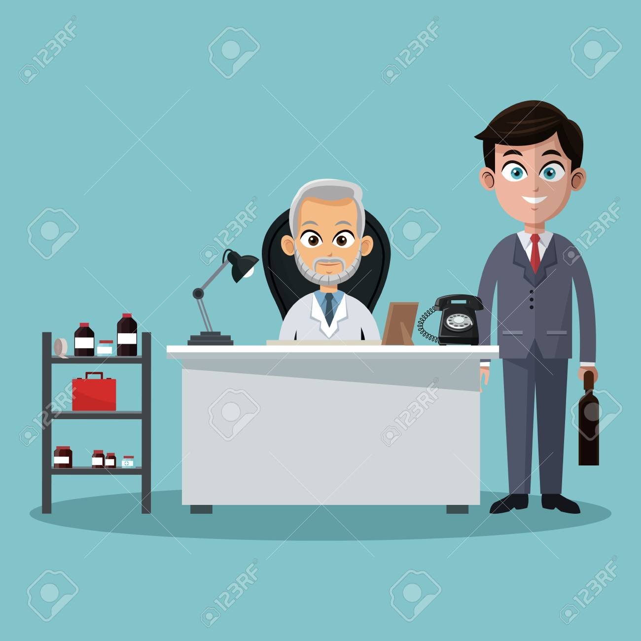 Businessman and doctor in office cartoons vector illustration graphic design - 104418631