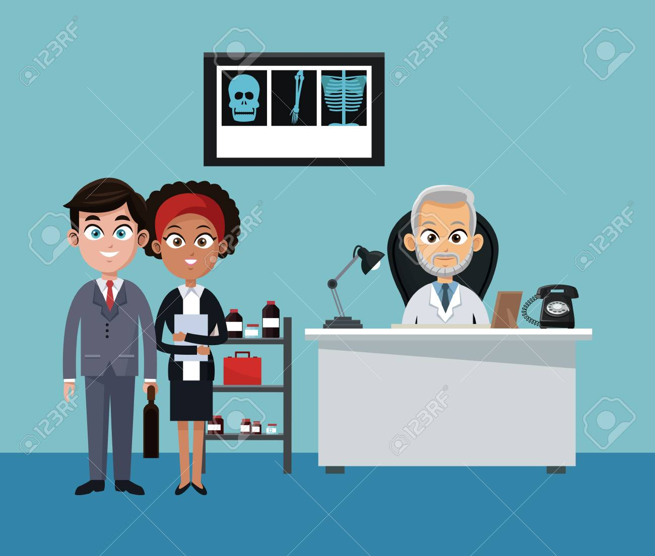 Businessman and doctor in office cartoons vector illustration graphic design - 104418653