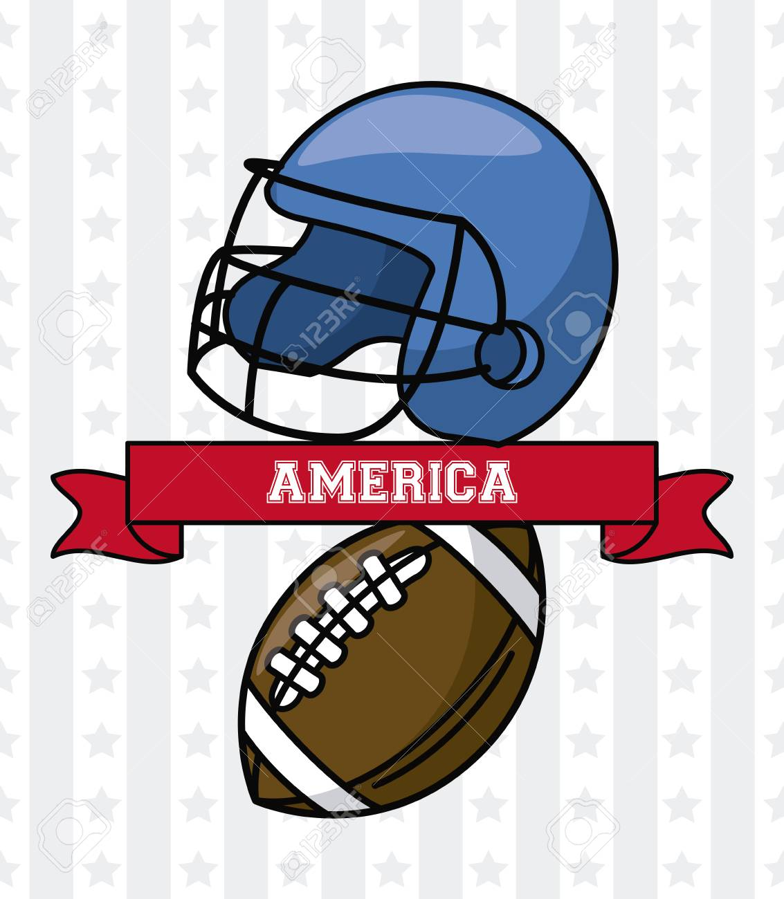 Usa American Football Helmet And Ball With Ribbon Banner Vector Royalty Free Cliparts Vectors And Stock Illustration Image 105234453