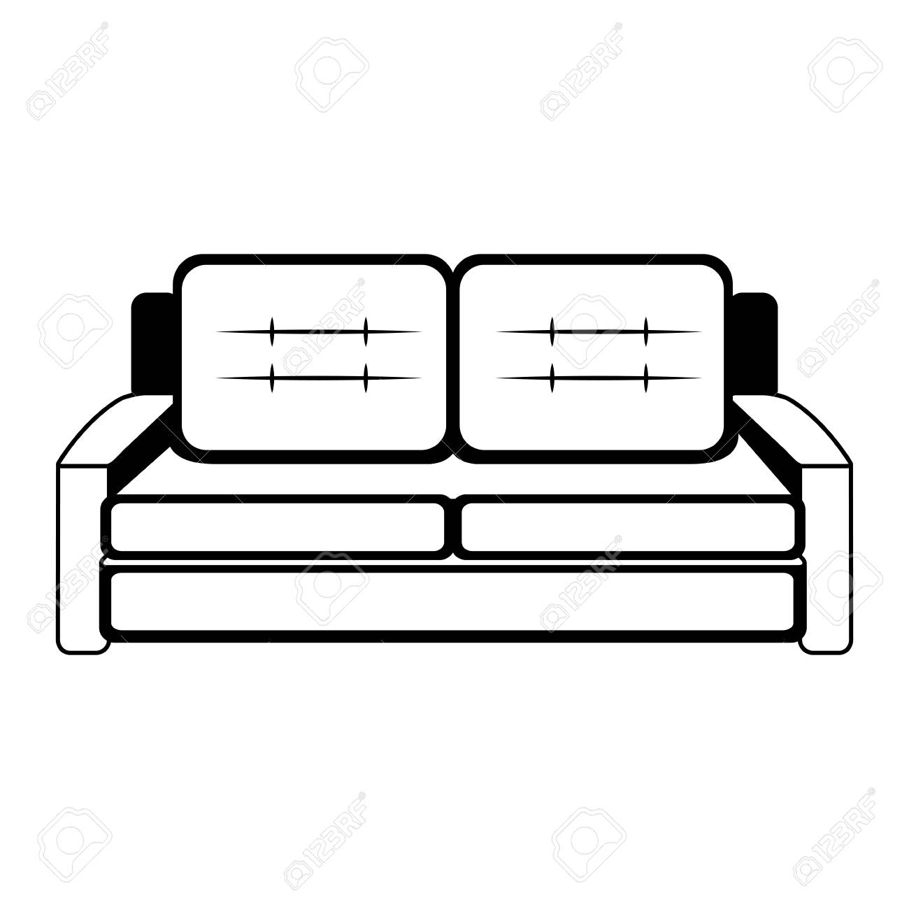 Sofa Furniture Isolated Vector Illustration Graphic Design Royalty