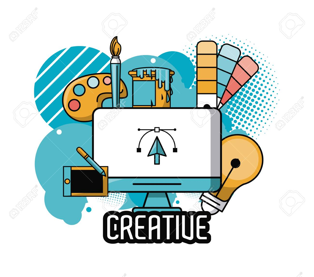 creative ideas and colors with graphic design elements cartoons