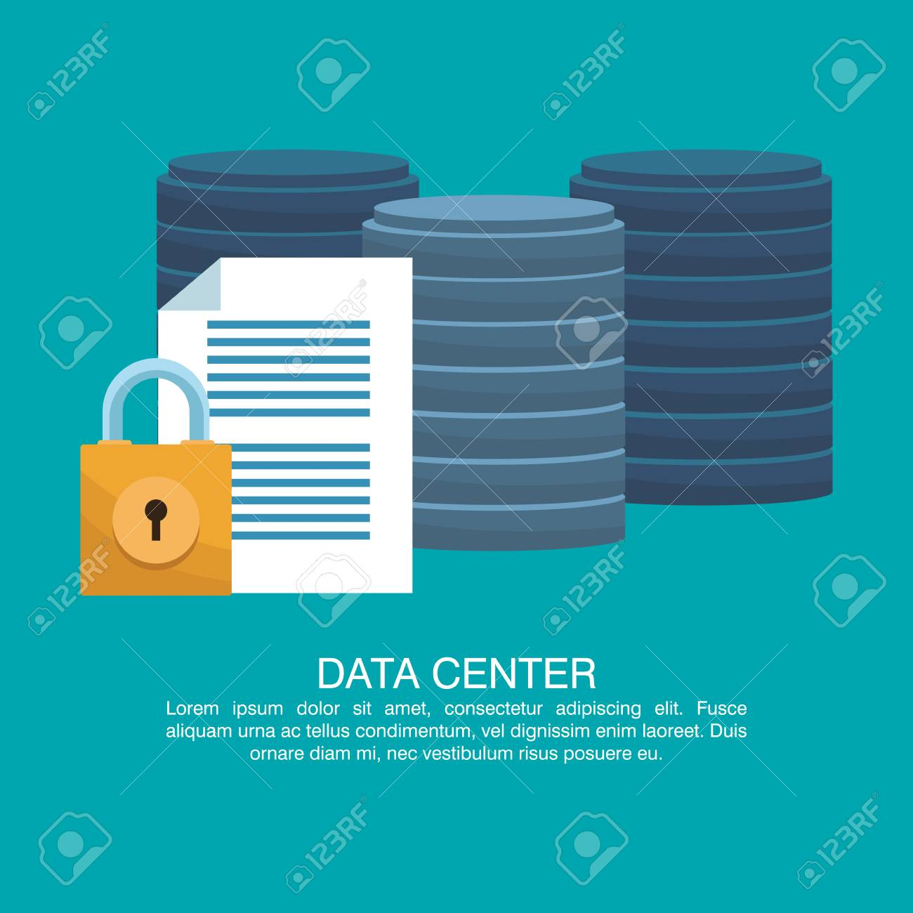data center poster with informaton and elements cartoons vector