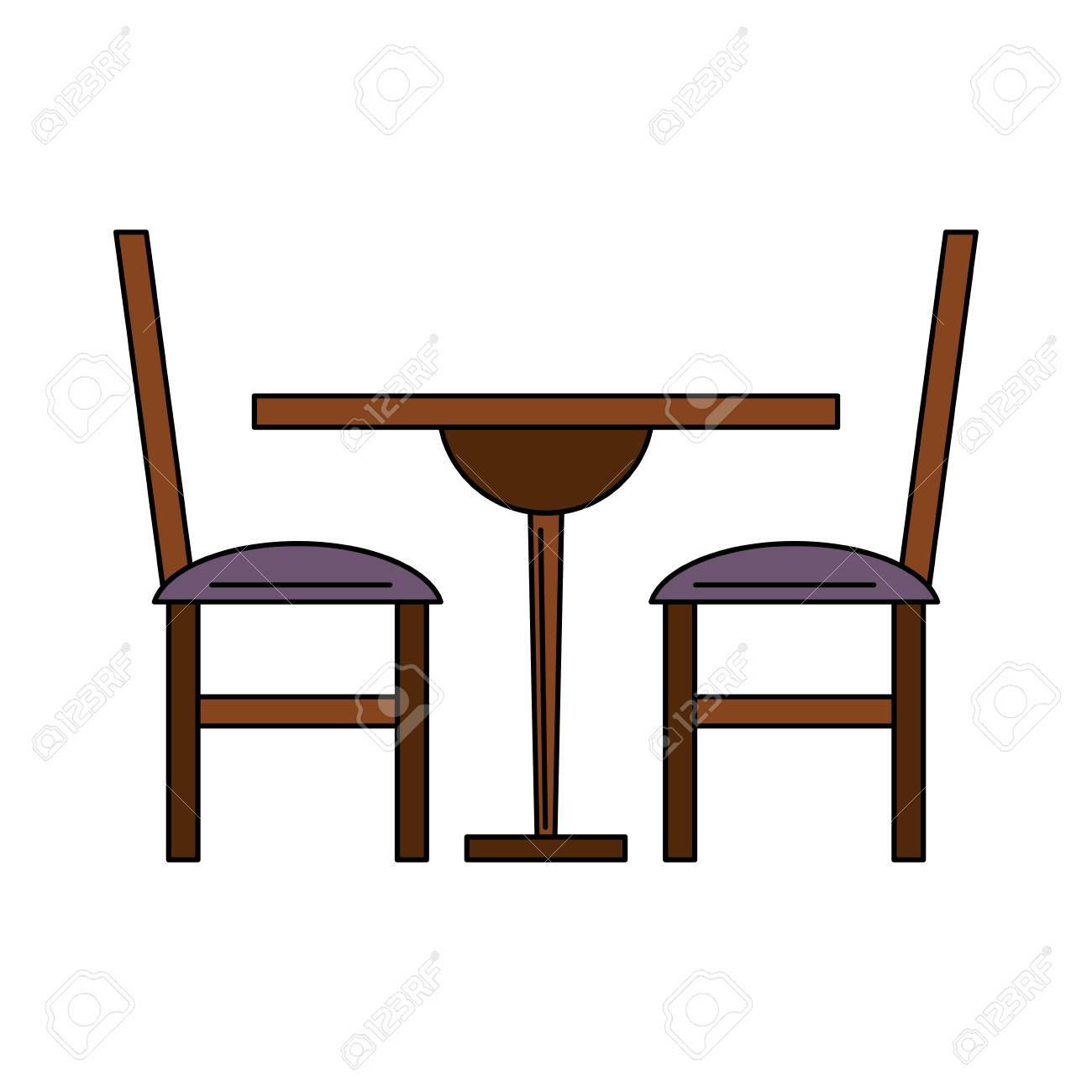 Dinning wooden table and chairs vector illustration graphic design stock vector 107197105