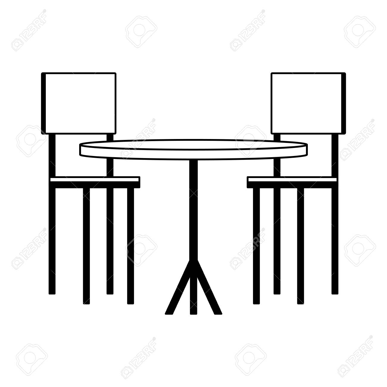 Vector wooden table and chairs vector illustration graphic design