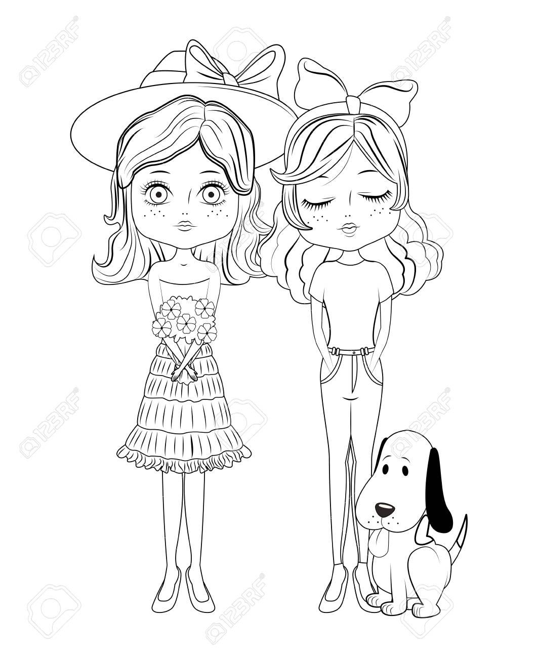 Fashione womens and dog vector illustration graphic design Stock Vector -  110074819 40181424b2