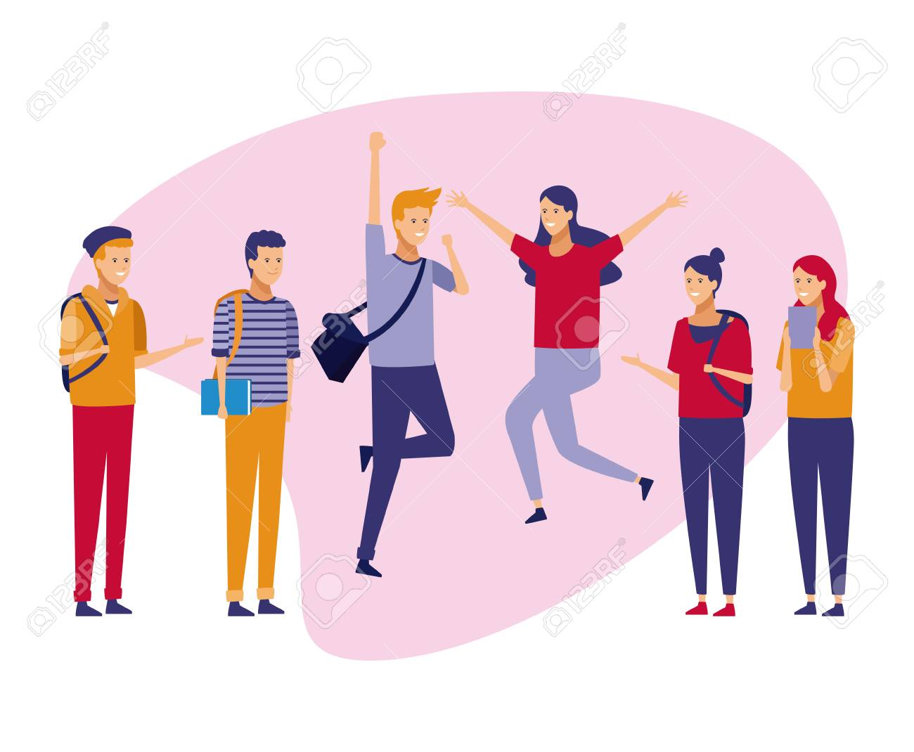 Young teenagers students celebrating with casual clothes cartoons vector illustration graphic design - 110020252