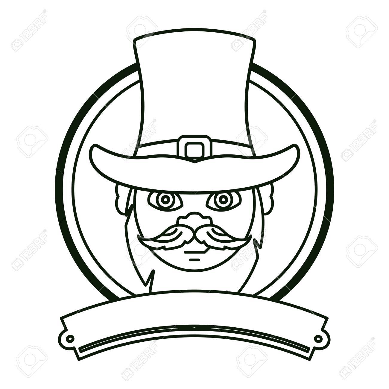 771b3f4a4cc Irish elf face with hat round emblem ribbon banner vector illustration  graphic design Stock Vector -