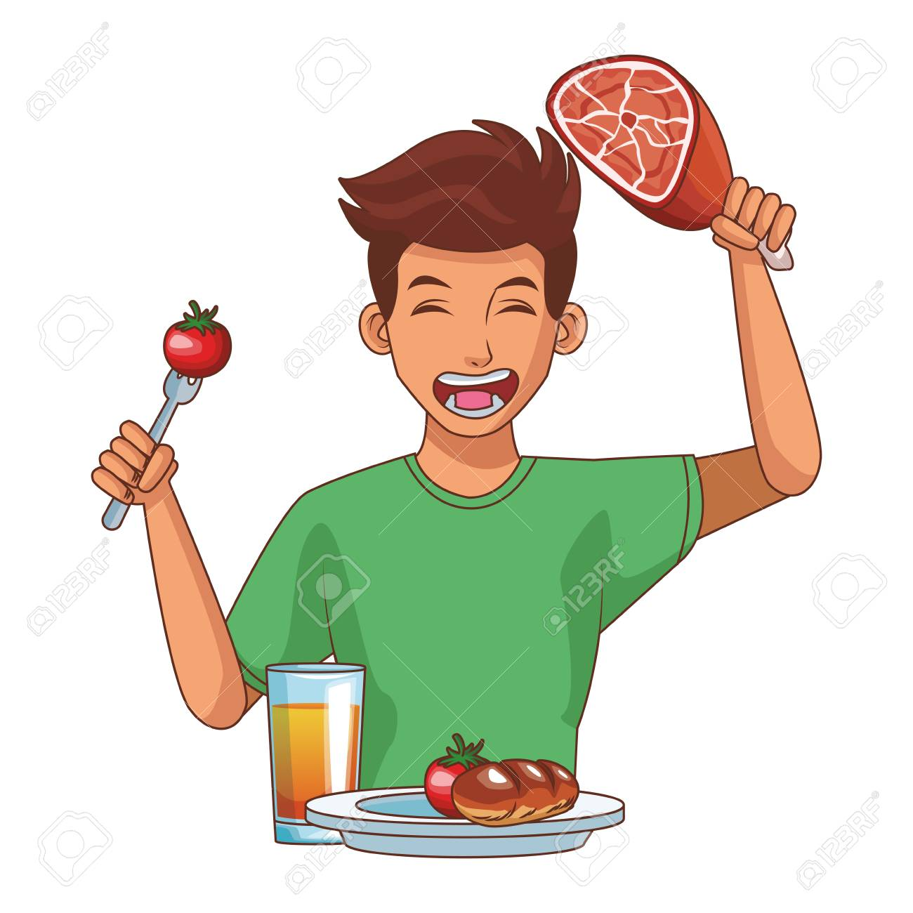 Young Man Eating Healthy Food Cartoon Vector Illustration Graphic Royalty Free Cliparts Vectors And Stock Illustration Image 109639937