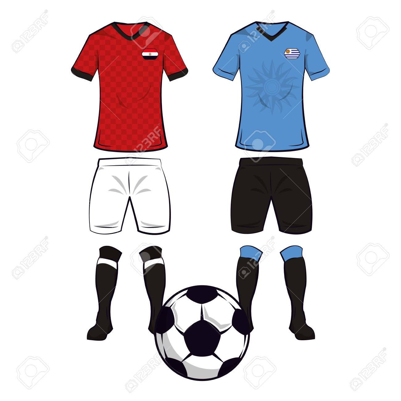 b2429046c8a Soccer egypt and uruguay teams uniforms and ball vector illustration  graphic design Stock Vector - 109593026