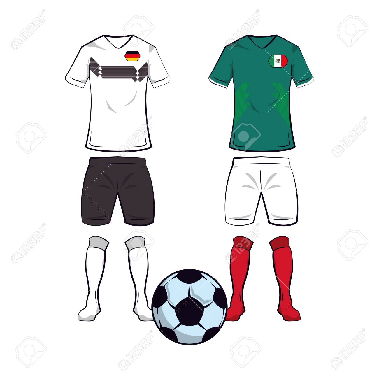 2da839a0071 Soccer germany and mexico teams uniforms and ball vector illustration  graphic design Stock Vector - 109593035