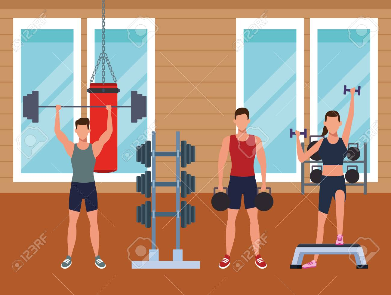 Gym rooms interior stock vector illustration of activity
