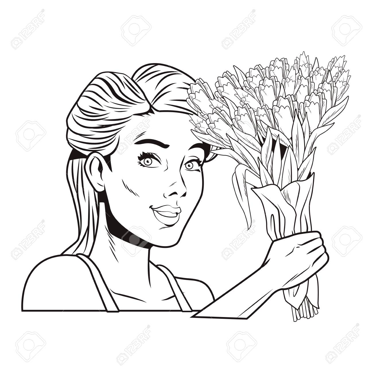 Pop Art Woman With Flowers Cartoon In Black And White Vector