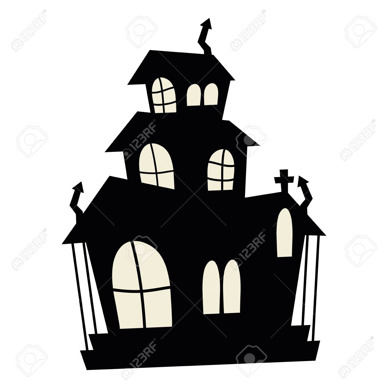 Halloween haunted house cartoon vector illustration graphic design