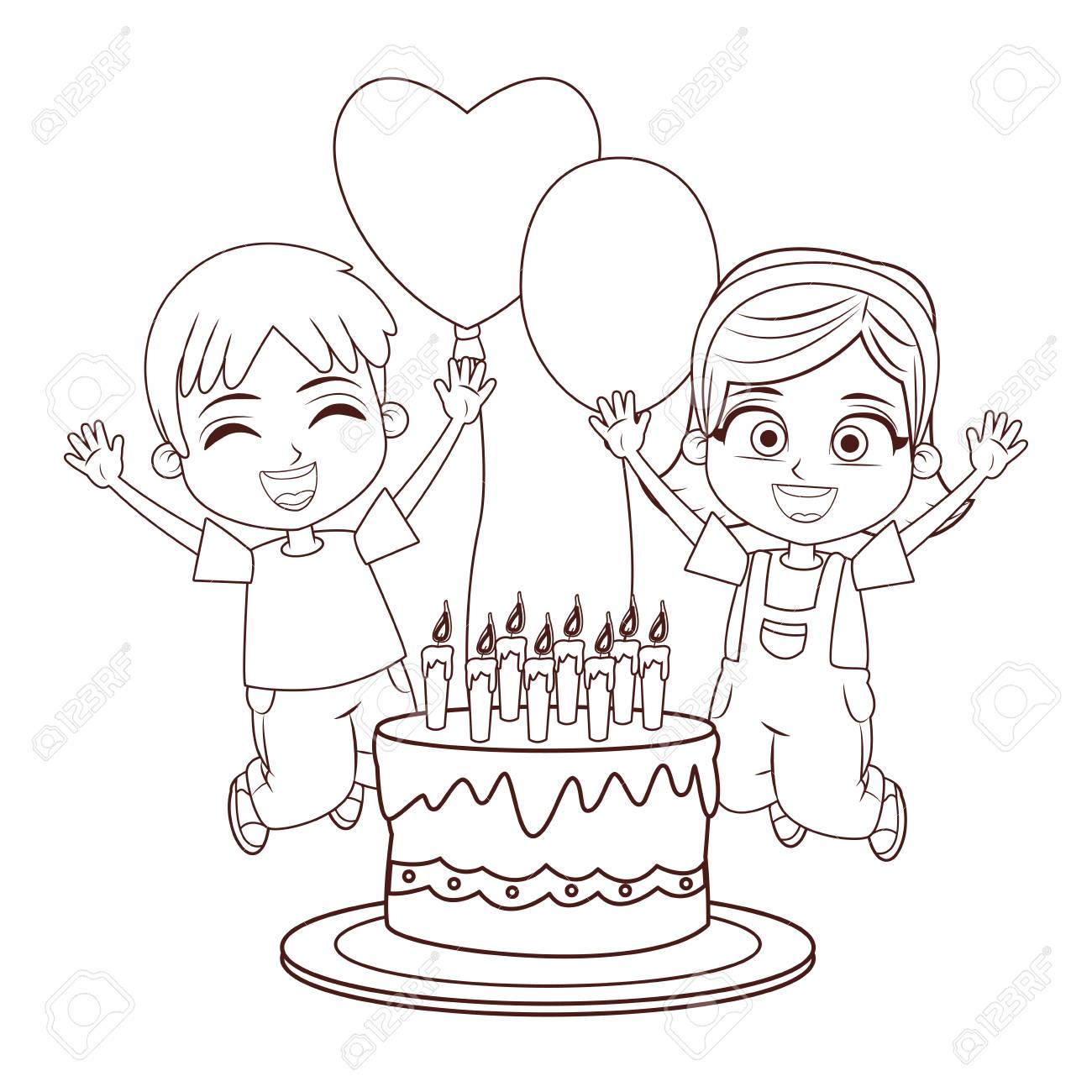Kids Birthday Party Wit Cake And Balloons Cartoon In Black And