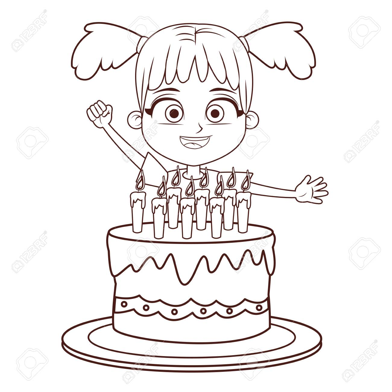 Girl Birthday Party With Cake Cartoon In Black And White Vector