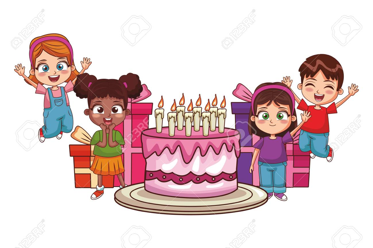 Kids Birthday Party With Cake And Gifts Cartoon Vector Illustration