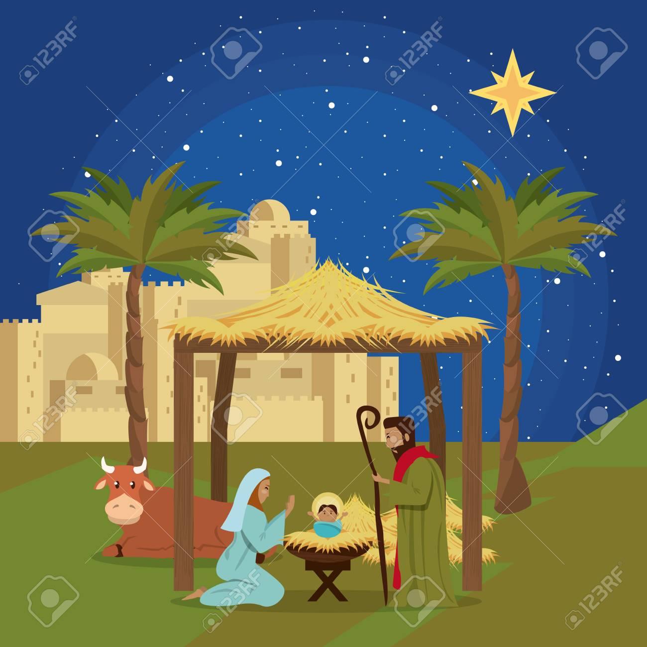 Christmas Jesus.Traditional Christian Christmas Nativity Scene Of Baby Jesus