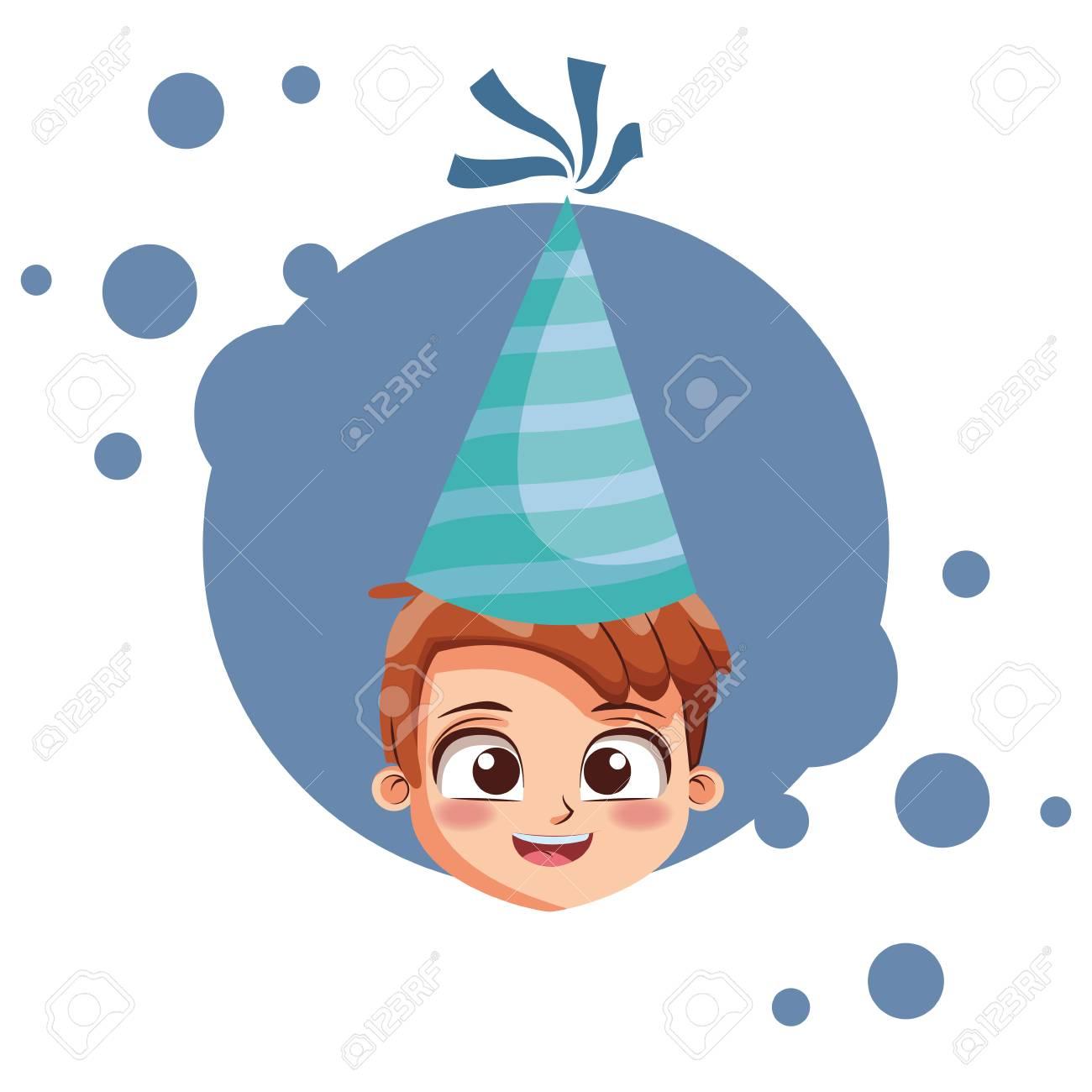 Boy With Birthday Hat Cartoon Over Blue Grunge Background Vector Illustration Graphic Design Standard Bild