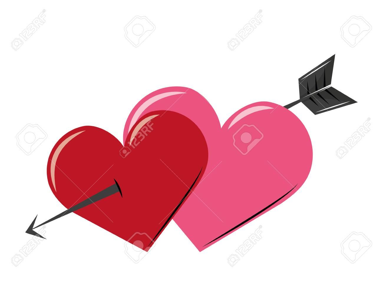 Arrow through hearts love cartoon vector illustration graphic design Banque d'images - 112048481