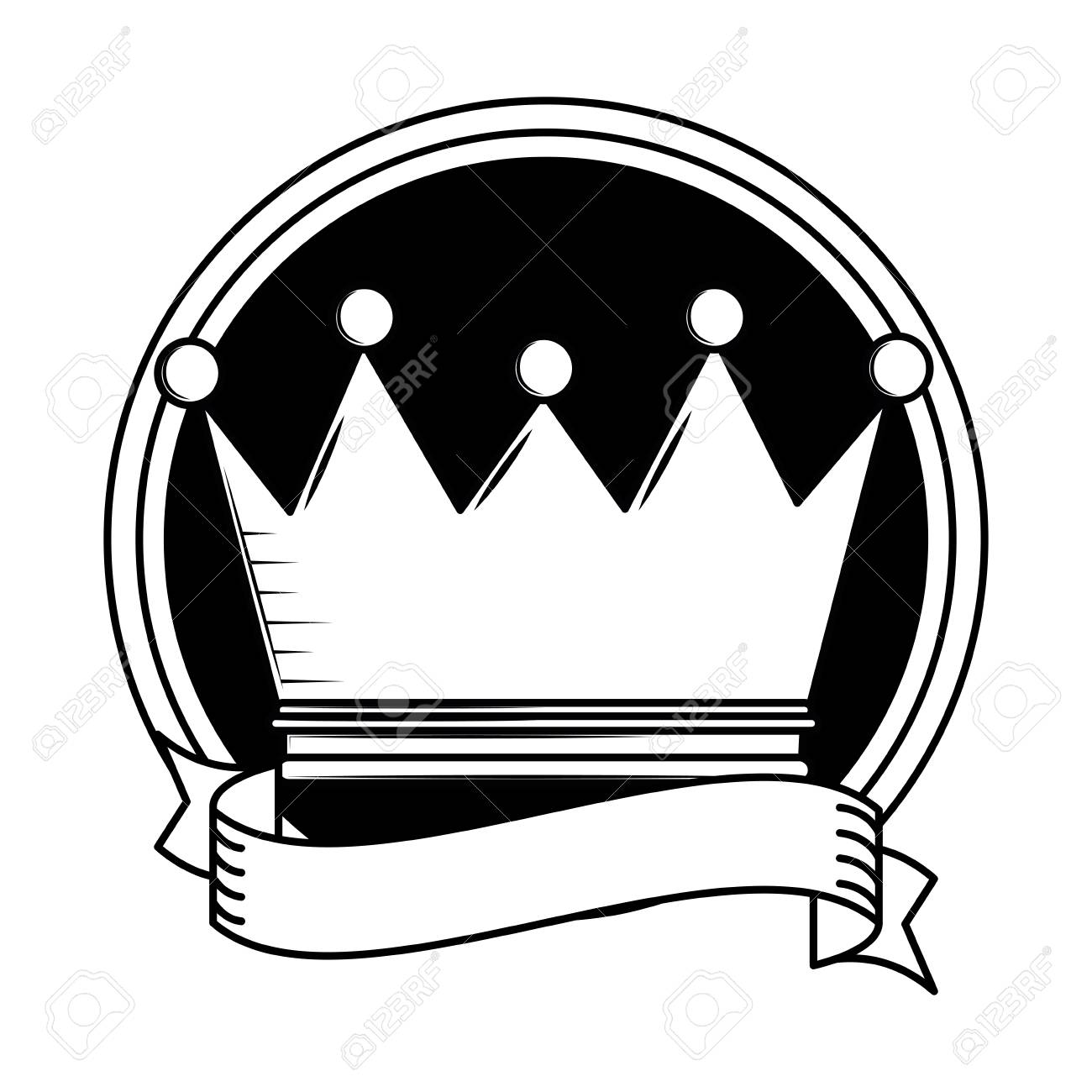 King Crown Cartoon Round Frame With Blank Ribbon Banner Vector
