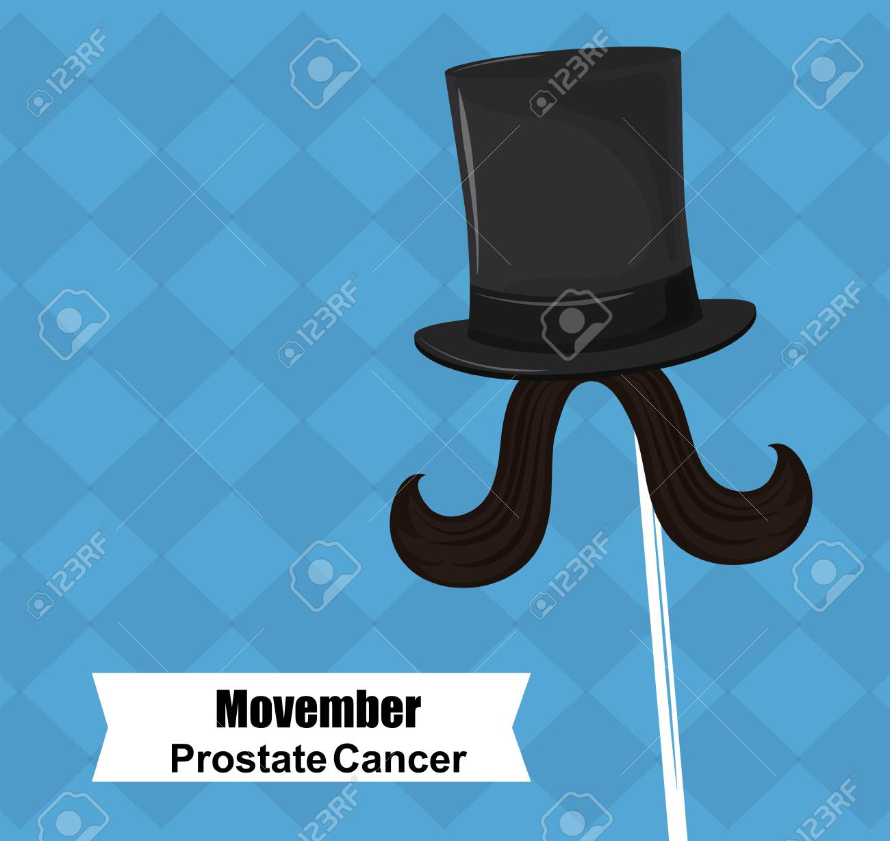 Movember Prostate Cancer Poster Hat And Mustache Booth Prop Vector Illustration Graphic Design Stock