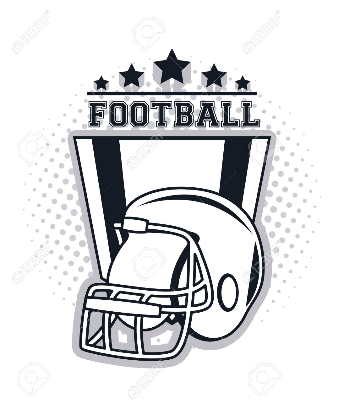 Football Helmet Icon Drawing With Stars Vector Illustration Graphic
