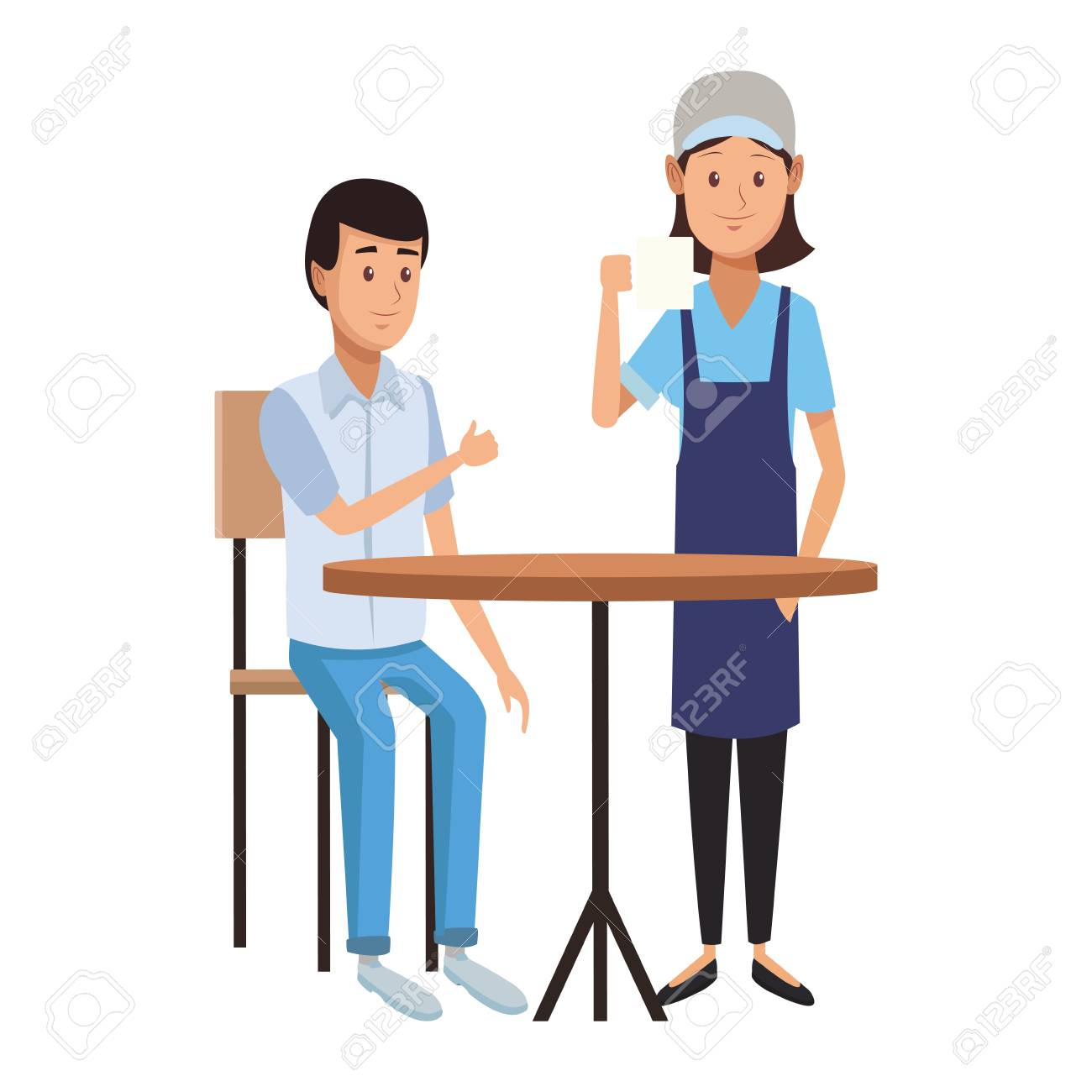 Restaurant Customer In Table And Waiter Taking Order Vector Illustration Royalty Free Cliparts Vectors And Stock Illustration Image 112713433