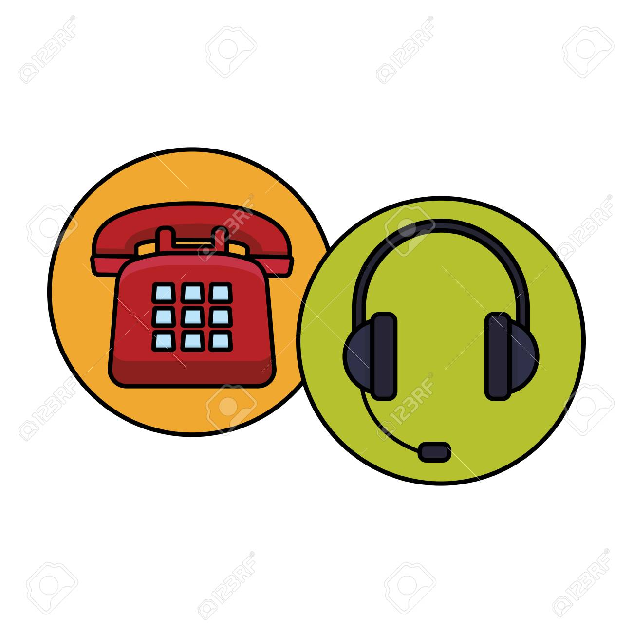 Telephone And Headset Assistance Round Icon Colorful In White Royalty Free Cliparts Vectors And Stock Illustration Image 127132987
