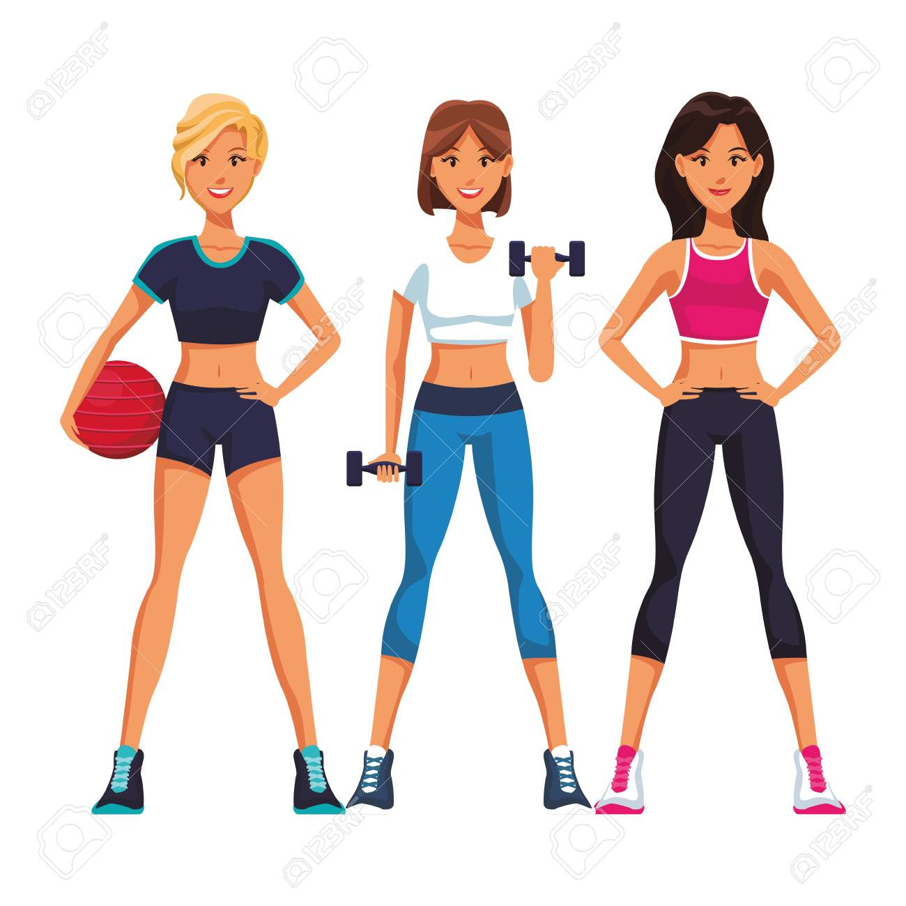 Fit Women Doing Exercise Cartoon Vector Illustration Graphic Royalty Free Cliparts Vectors And Stock Illustration Image 127074123 This stock cute fitness woman cartoon vector character comes in complete set of 112 different action poses. fit women doing exercise cartoon vector illustration graphic