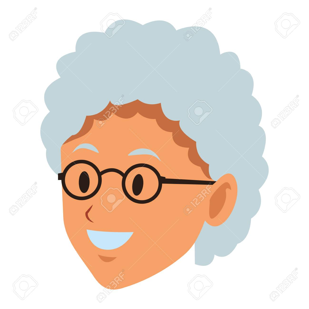 Old Woman Face With Glasses Short Hair Smiling Vector Illustration
