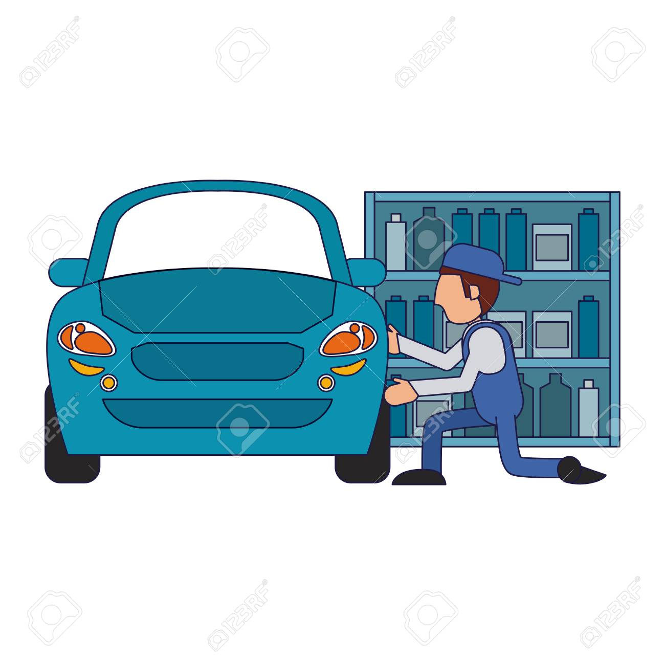 Car Mechanic Fixing Car Vehicle Vector Illustration Graphic Design Royalty Free Cliparts Vectors And Stock Illustration Image 113863150
