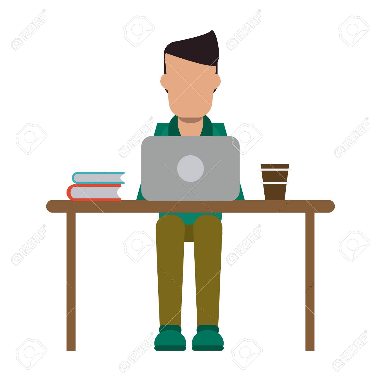 freelancer working with laptop and coffee on desk vector illustration graphic design - 126238196