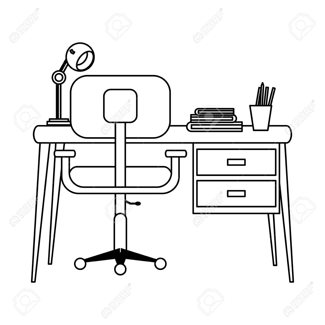 Study Office Room With Computer Desk And Chair Black And White Royalty Free Cliparts Vectors And Stock Illustration Image 115349592