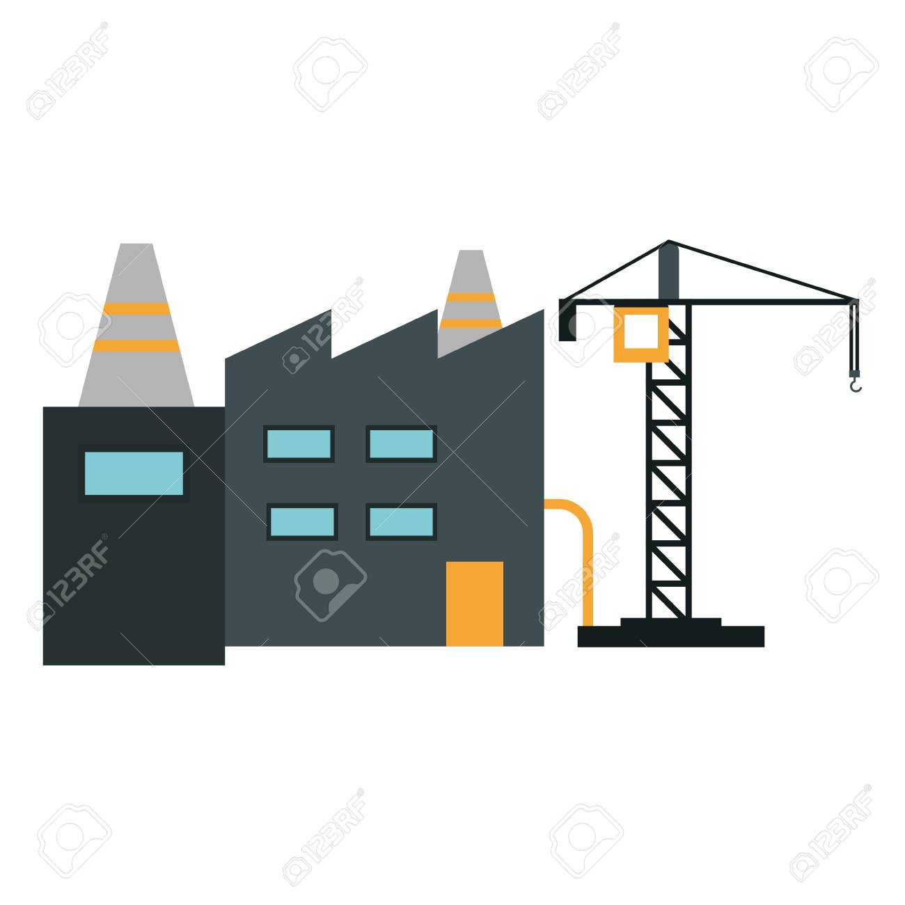 Factory and crane industrial zone vector illustration graphic design - 126159143