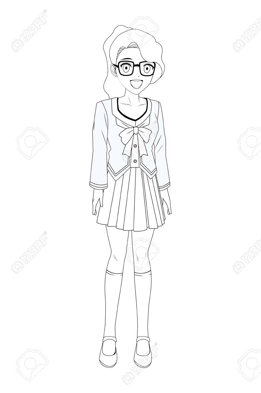 Anime manga girl with glasses black and white vector illustration
