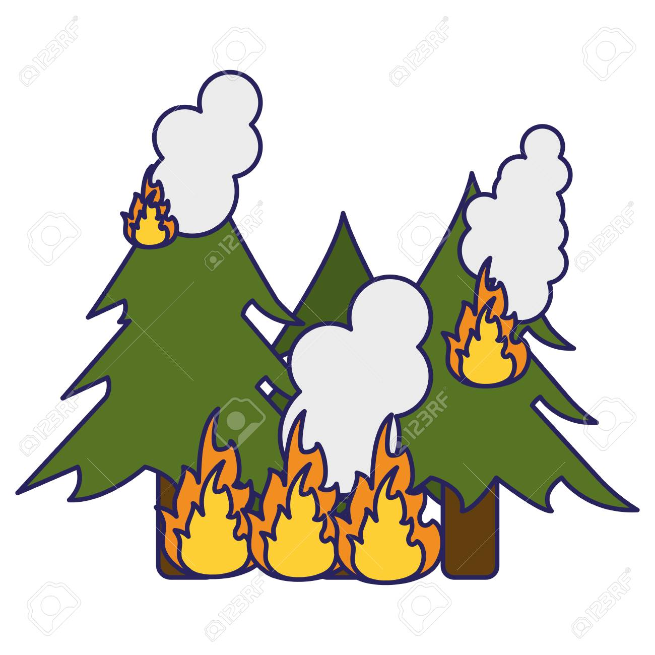 Trees Forest In Fire Cartoon Vector Illustration Graphic Design Royalty Free Cliparts Vectors And Stock Illustration Image 125094182 Search, discover and share your favorite tree on fire gifs. trees forest in fire cartoon vector illustration graphic design
