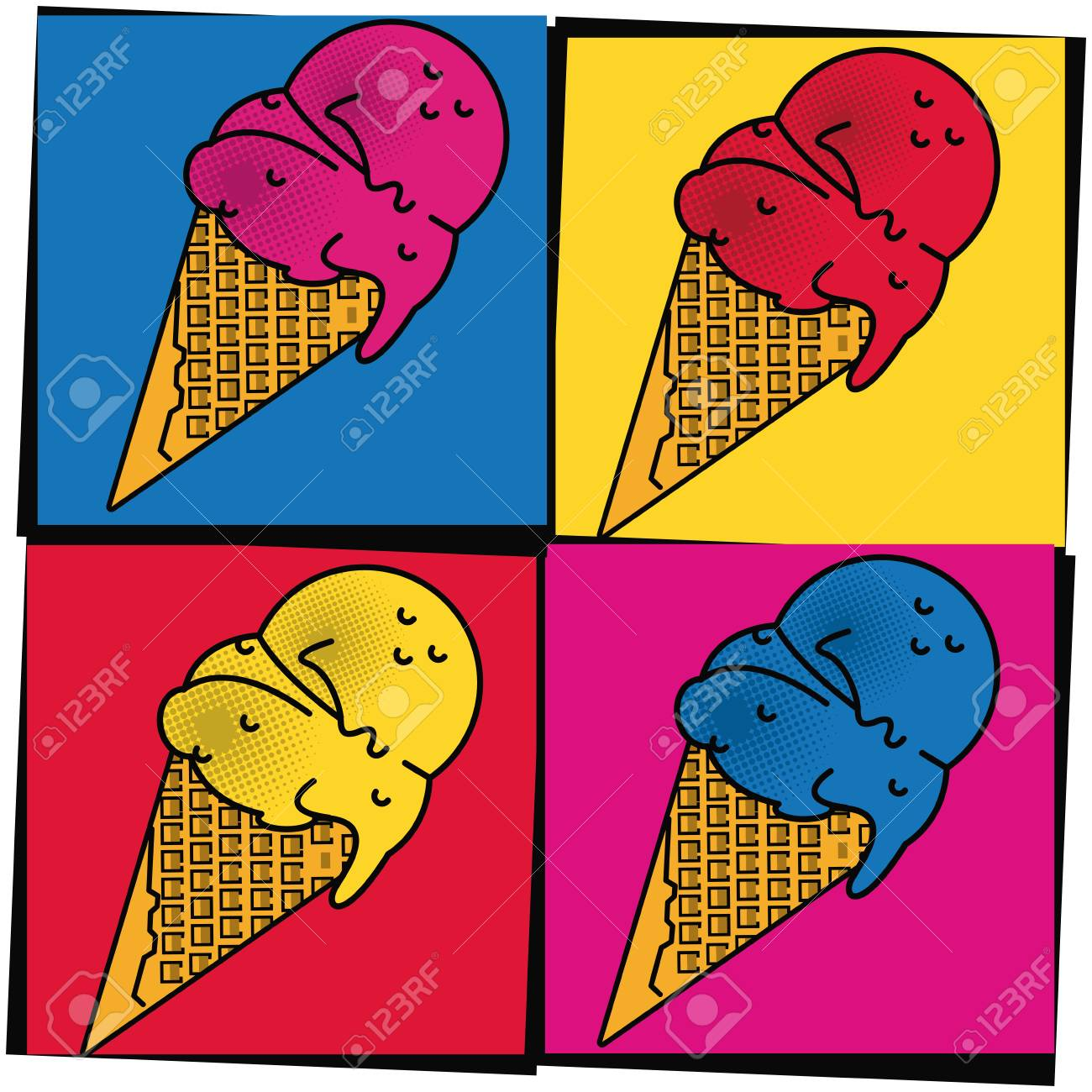 Pop Art Ice Cream Cones Cartoons Colorful Frames Vector ...