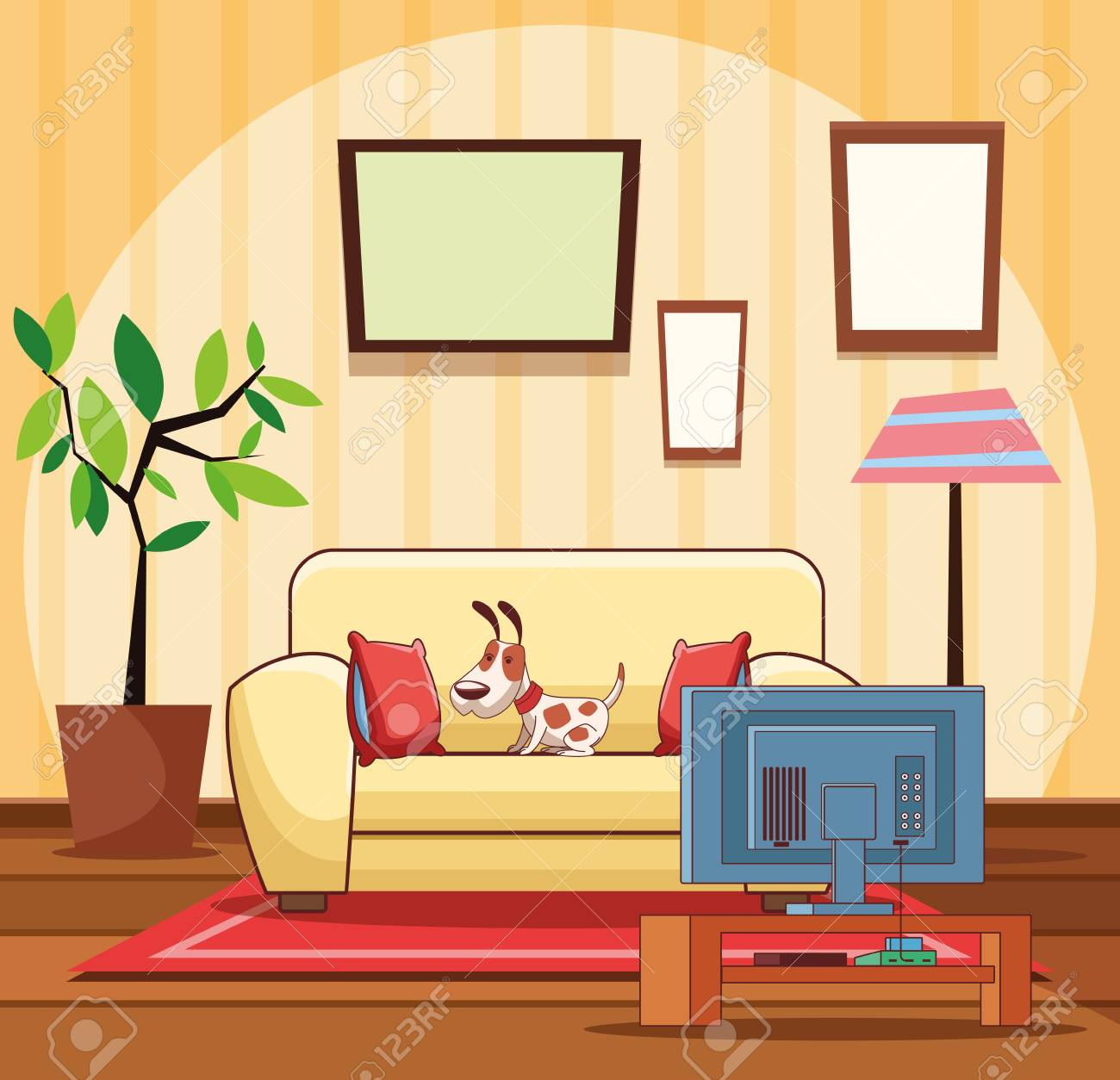Home Living Room Interior Wit Sofa Tv And Dog Cartoon Vector Royalty Free Cliparts Vectors And Stock Illustration Image 124814645