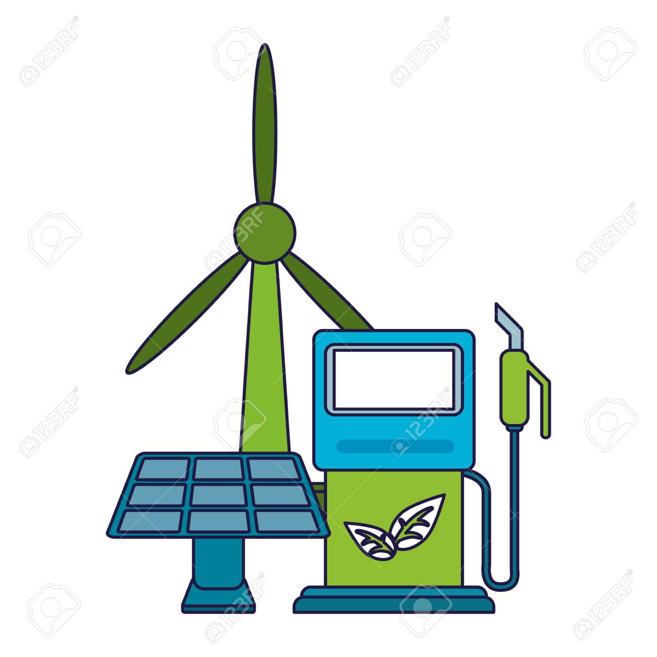 Ecology green energy wind turbine solar panel and fuel dispenser