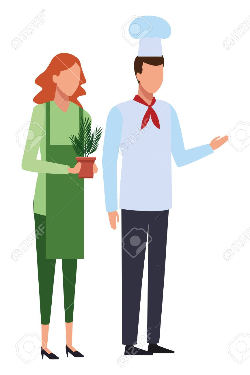 Jobs And Professions Chef And Gardener Avatar Vector Illustration