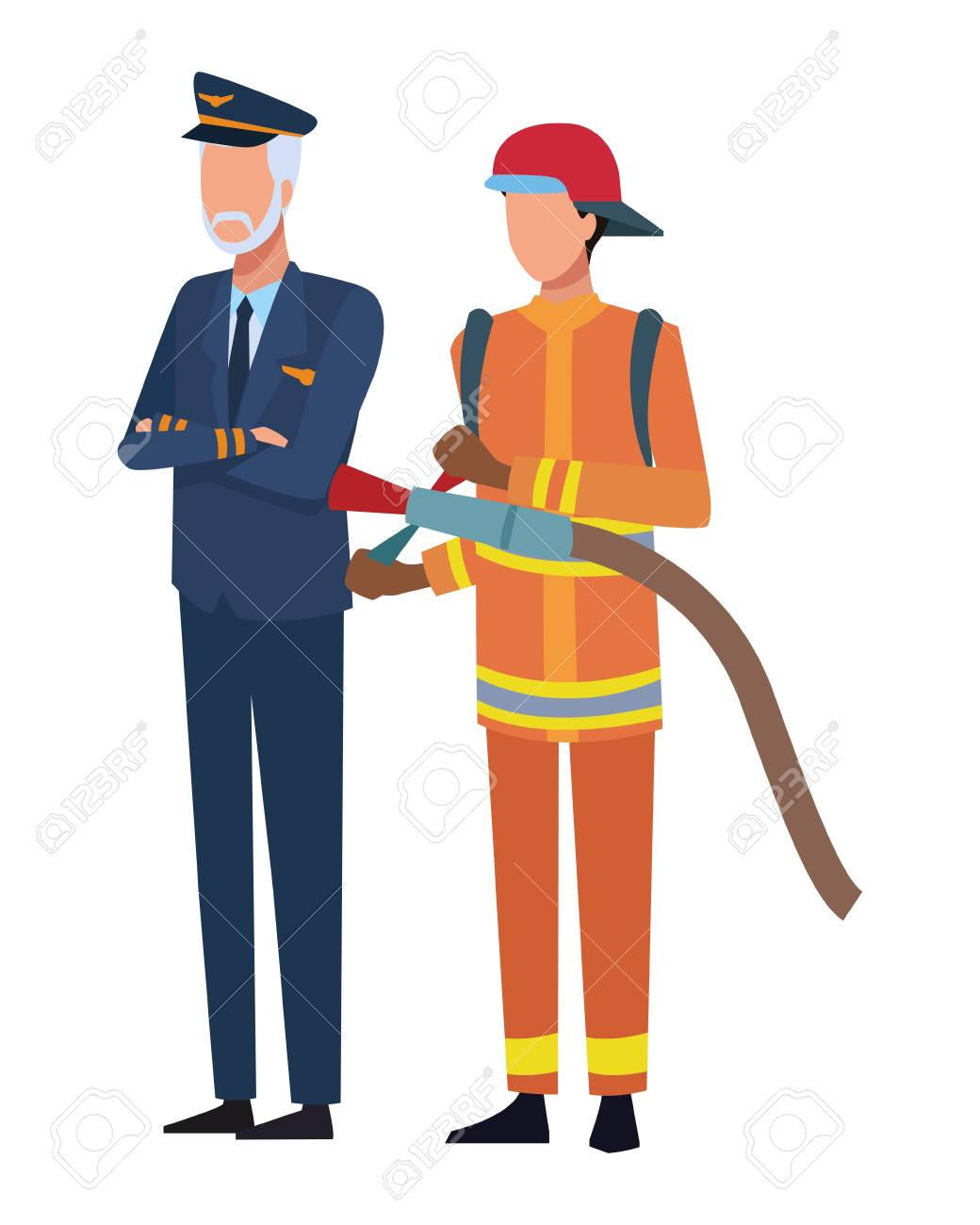 Jobs and professions pilot and firefighter avatar vector illustration