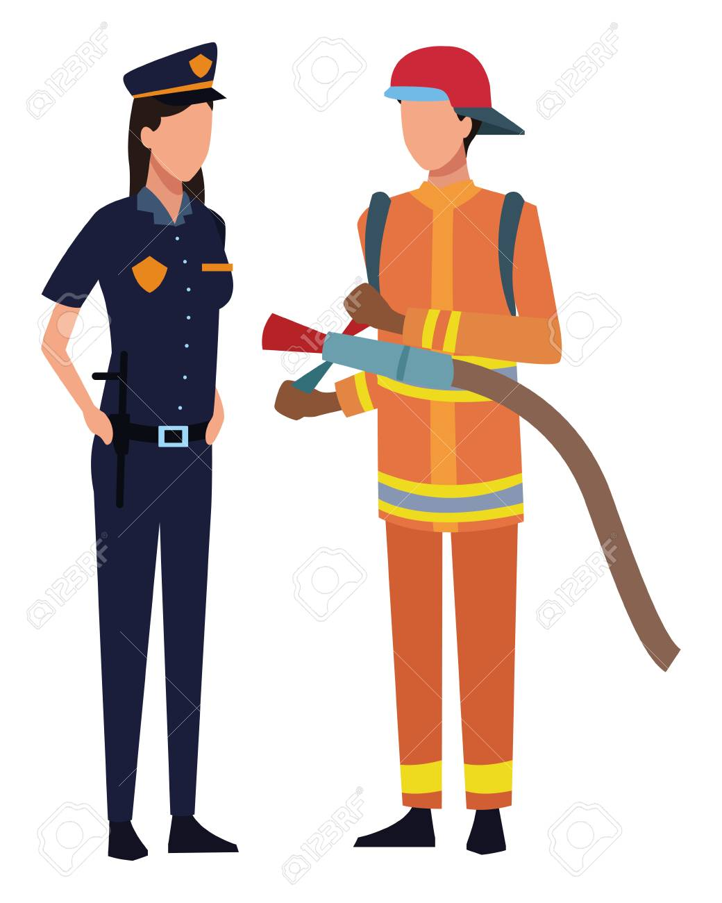 Jobs and professions police and firefighter avatar vector illustration